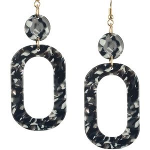 Retro Style Marble Lucite Stone Dangle Earrings